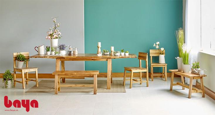 Bộ bàn ăn gỗ mộc mạc