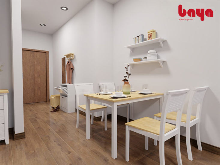 Bộ bàn ăn trắng cho không gian rộng rãi hơn