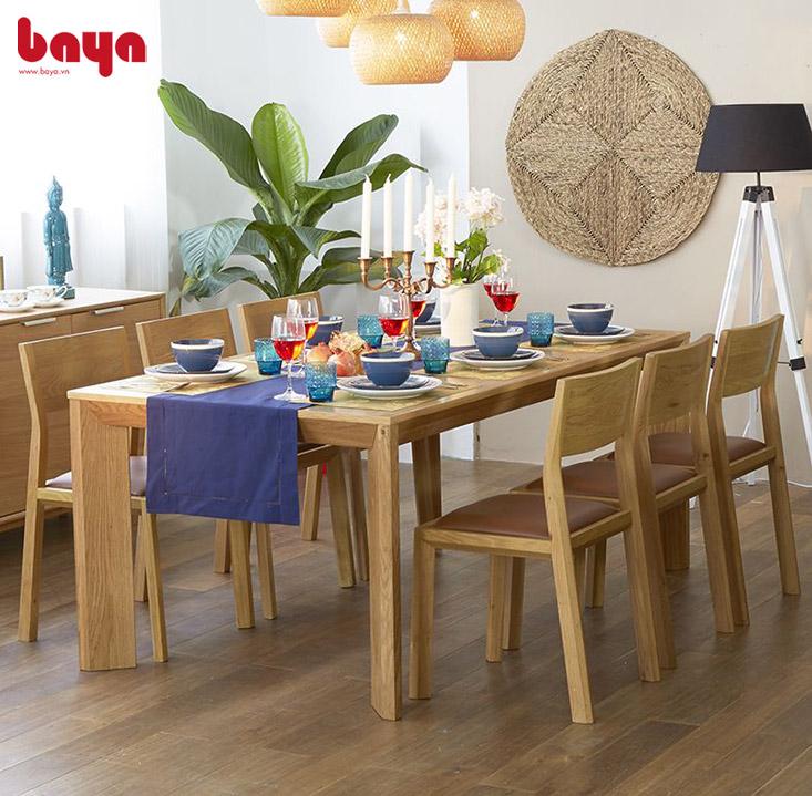 Bàn ăn gỗ sử dụng chất liệu gỗ tự nhiên