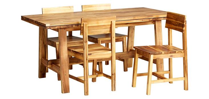 bộ bàn ăn từ gỗ keo