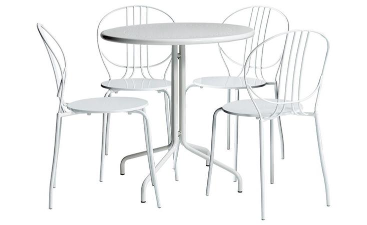 Bộ bàn ăn 4 ghế CAFE ROYALE màu trắng