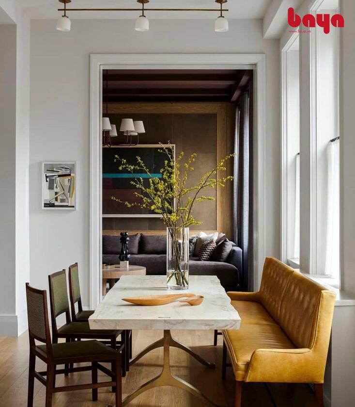 ghế ăn bằng gỗ với ghế sofa