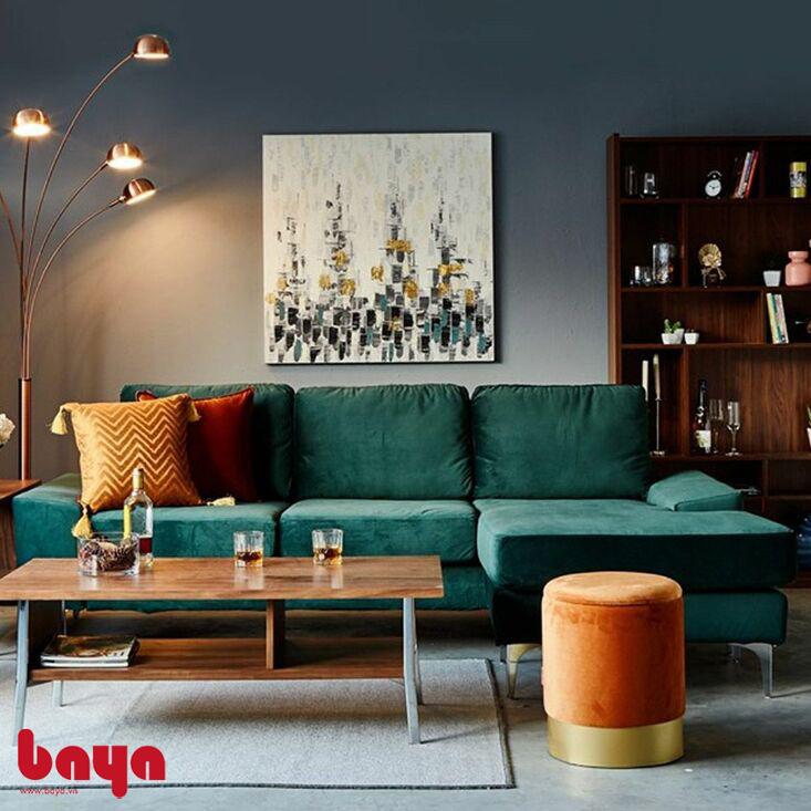 Ghế sofa chữ L màu xanh lá cây