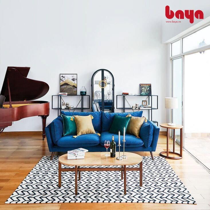 Mẫu Ghế sofa nhung màu xanh dương