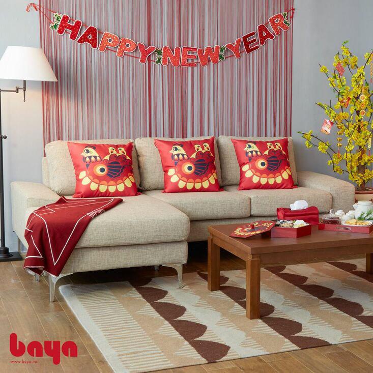 Sofa chữ L màu be với thiết kế nhỏ xinh