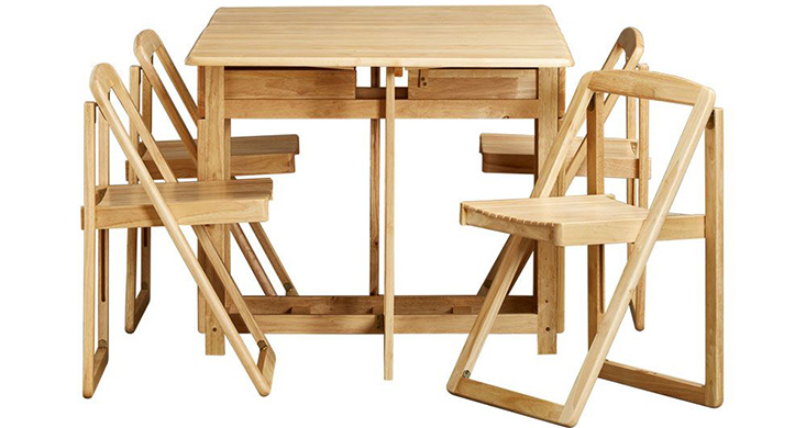 Bộ bàn ăn 4 ghế BIANCA có thể gấp gọn