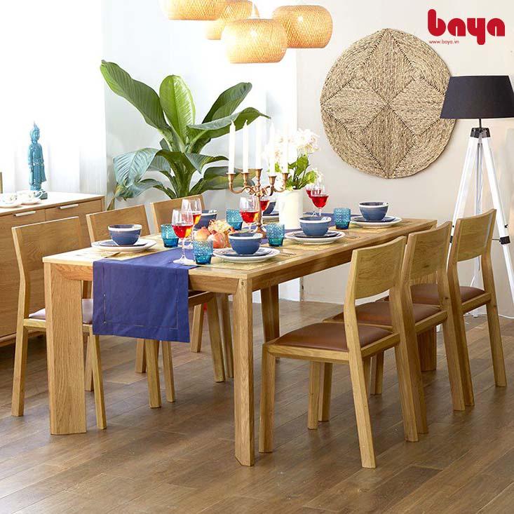 Bộ bàn ăn 6 ghế Attila chất liệu gỗ tự nhiên bền chắc
