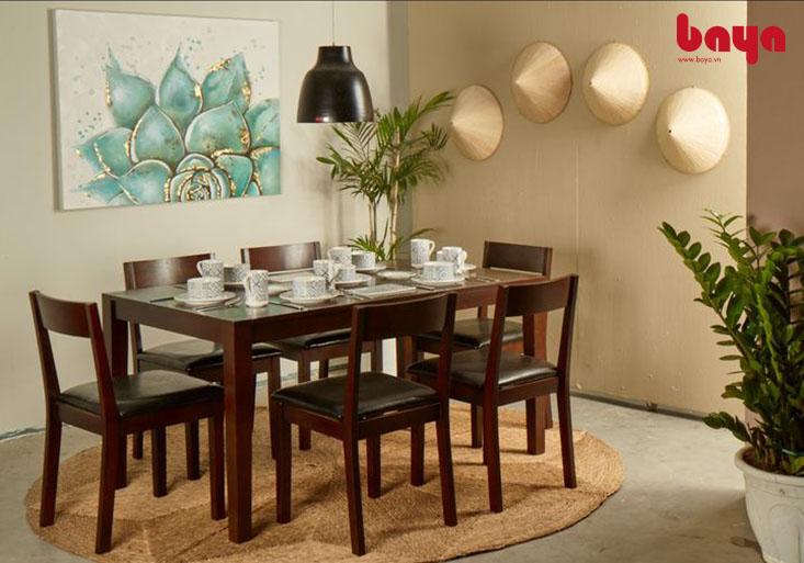 Bộ bàn ăn 6 ghế Kitka màu nâu trầm