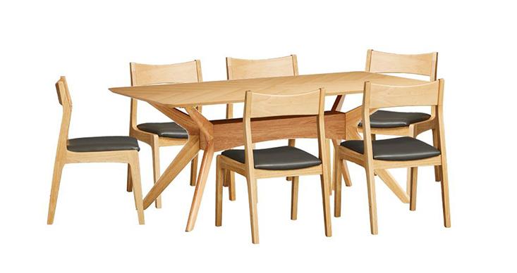 Bộ bàn ăn 6 ghế Princeton chất liệu gỗ tự nhiên