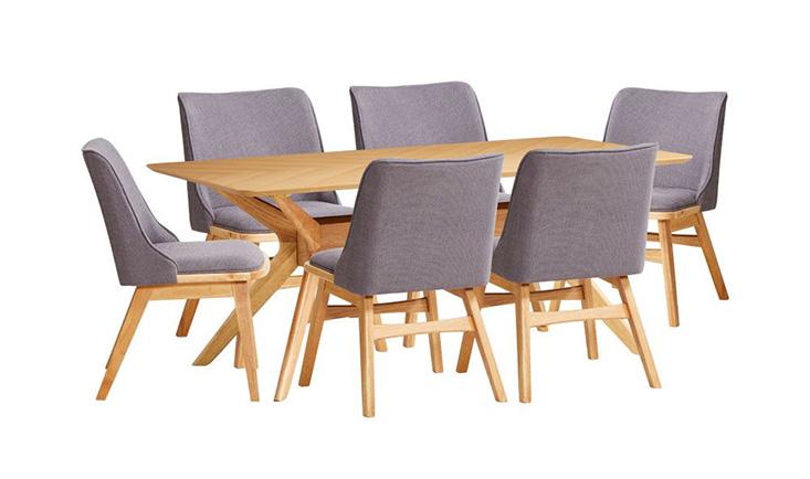 Bộ bàn ăn 6 ghế Princeton chất liệu gỗ cao su