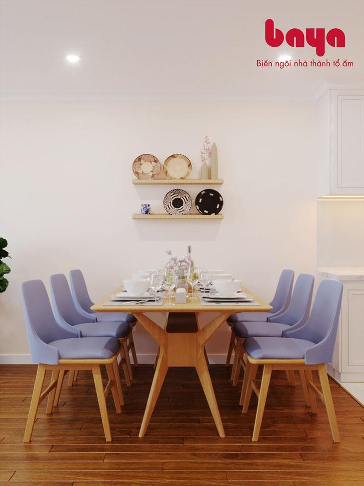 Bộ bàn ăn 6 ghế Princeton đệm màu tím nhạt