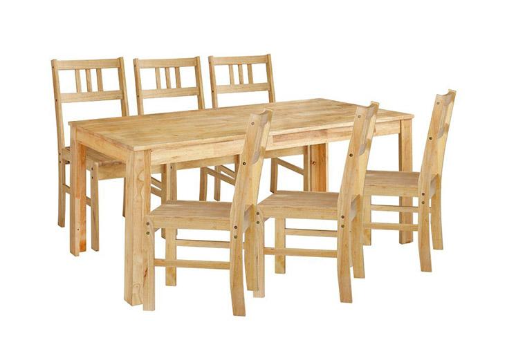 Bộ bàn ăn 6 ghế Qatar làm từ gỗ cao su