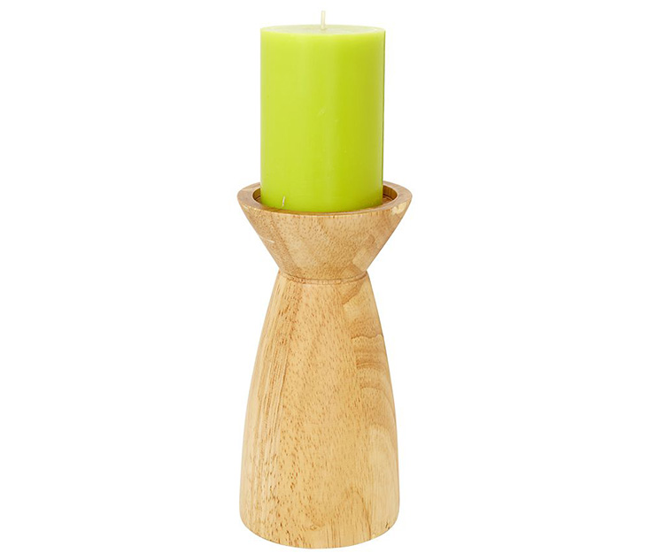 Chân nến trụ NURIA dáng cao màu gỗ sáng
