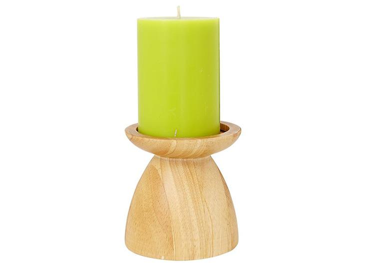 Chân nến trụ NURIA dáng thấp màu gỗ sáng