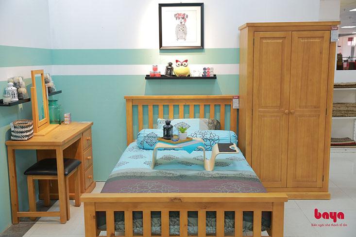 Giường 1m2 ALI làm từ gỗ thông màu nâu sáng