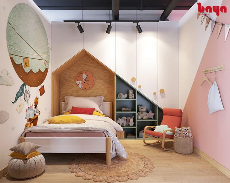 Giường 1m2 màu trắng kết hợp màu nâu gỗ