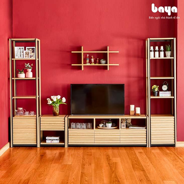 Kệ gắn tường bằng gỗ độc đáo cho phòng khách