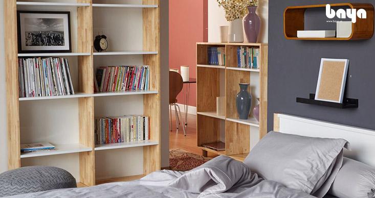 Kệ sách RALLY gỗ cao su tự nhiên màu sáng