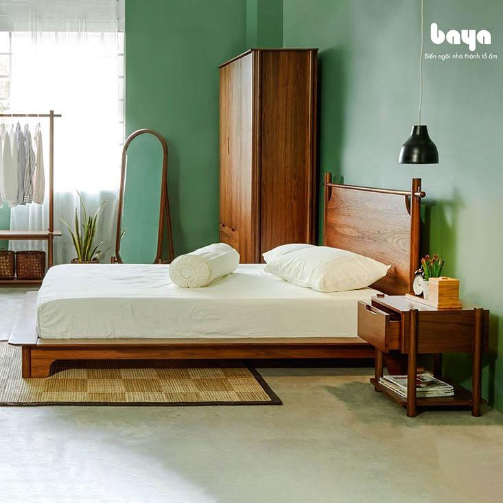 Tủ đầu giường AKIO gỗ óc chó sang trọng