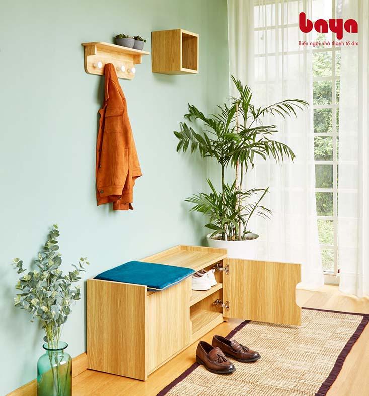 Tủ kệ giày SUECIA màu gỗ sáng sang trọng