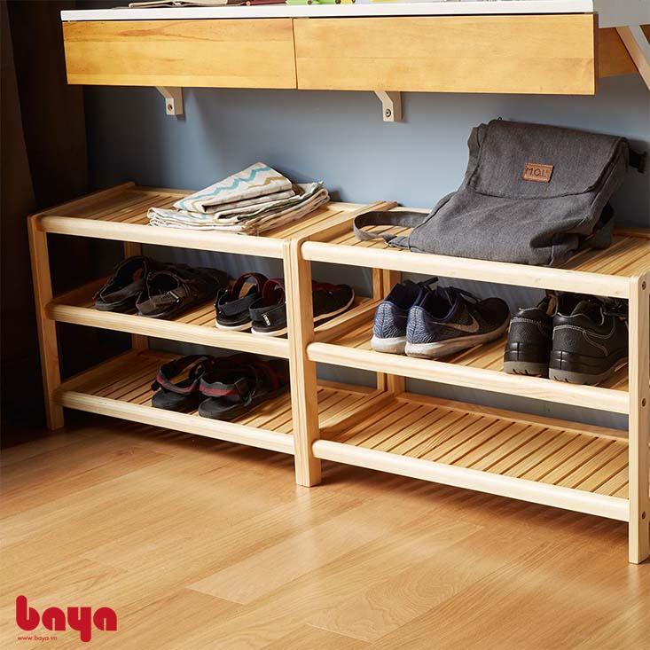 Tủ kệ giày TOBAGO 3 tầng chất liệu gỗ tự nhiên