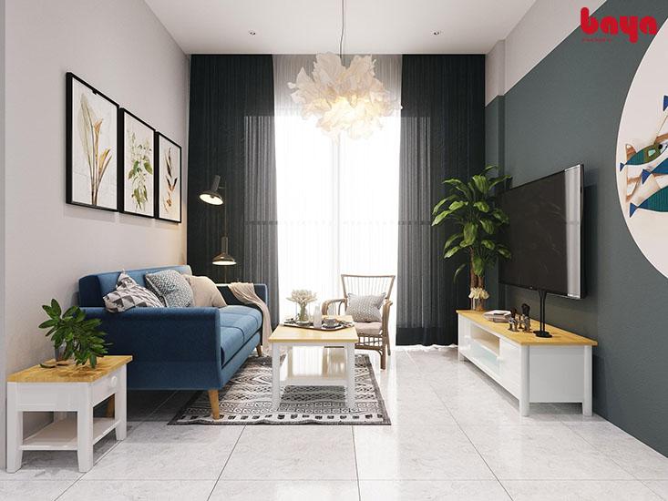 Tủ kệ TV màu sáng giúp căn phòng rộng hơn