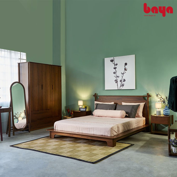 Tủ quần áo AKIO 3 cánh kết hợp cùng giường và gương đứng
