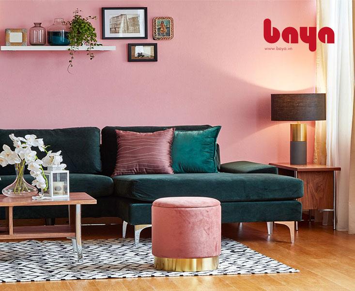 Ghế đôn mềm có hộc bọc vải nhung tạo điểm nhấn nhá cho đồ nội thất xung quanh