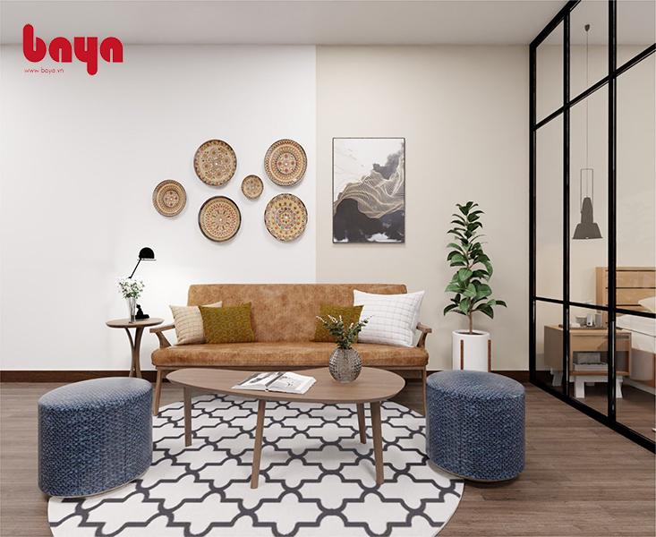 Mẫu ghế đôn tròn tối giản, thanh lịch tạo điểm nhấn cho cả bộ bàn ghế và khiến căn phòng thêm cân đối hơn