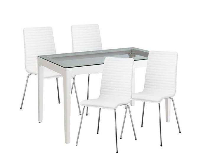 Ghế ăn màu trắng kết hợp bàn ăn Palermo