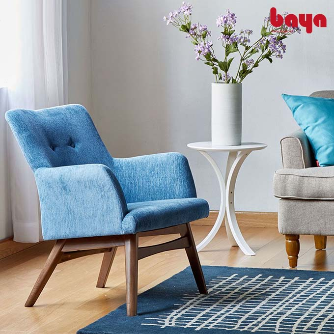 Ghế sofa đơn Sarawak màu xanh với khung gỗ cao su
