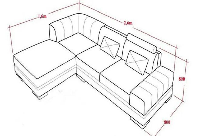 Kích thước sofa chữ L thường gặp