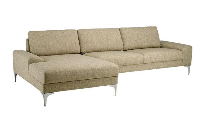 Sofa chữ L Narbonne chân kim loại sáng bóng