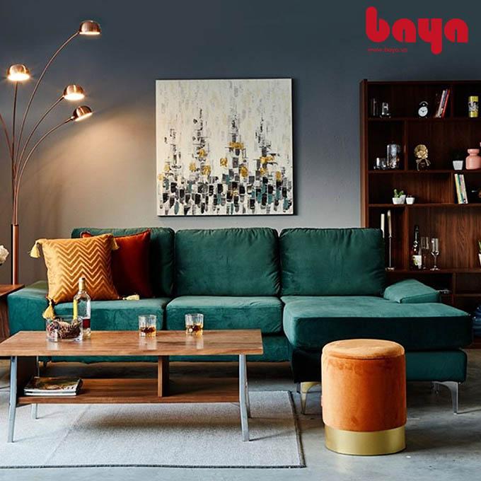 Sofa chữ L Narbonne màu xanh rêu ấn tượng